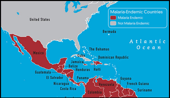North America Caribbean Travel Vaccines And Malaria Prophylaxis - Us and caribbean map